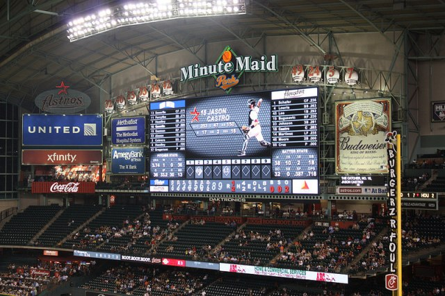 Die Videowand im Minute Maid Park in Houston.